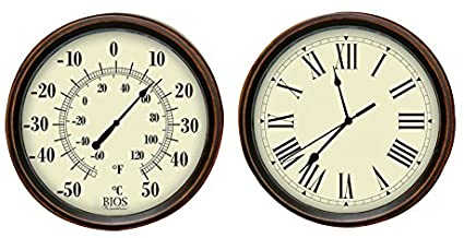 BIOS Decorative Thermometer and Clock Set Wall Cloc
