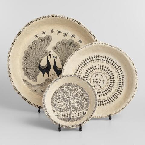 Medium Warli Decorative Dancer Plate with Stand   World Mark