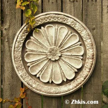 Round Wall Medallion with Flower | Wall medallion, Outdoor wall .