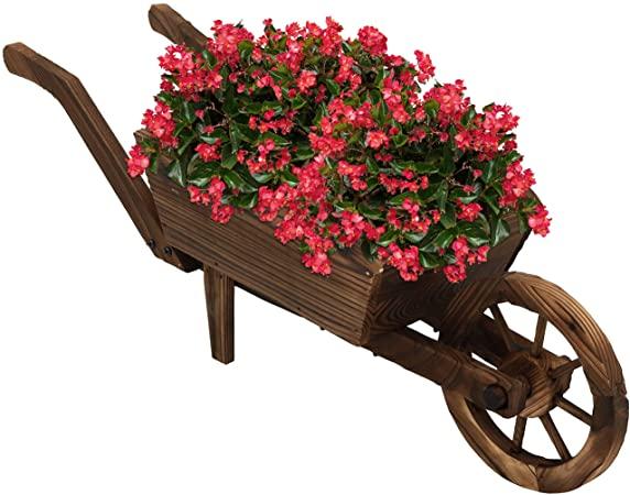 Amazon.com : Sunnydaze Wooden Decorative Wheelbarrow Planter, for .