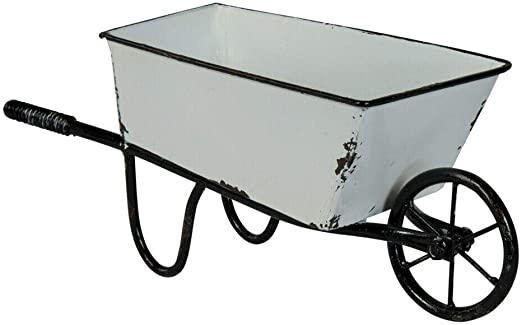 Amazon.com: Decorative Wheelbarrow Planter White Metal 12.5 .