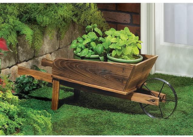Amazon.com : NEW Wooden Wheelbarrow Country Cart Plant Stand Yard .