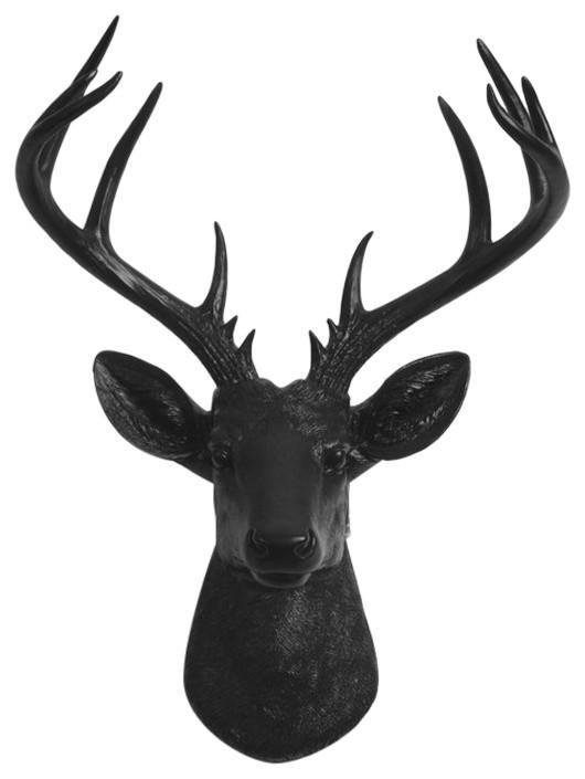 """Black Deer Head Wall Mount, The XL Ignatius 21"""" ta"""