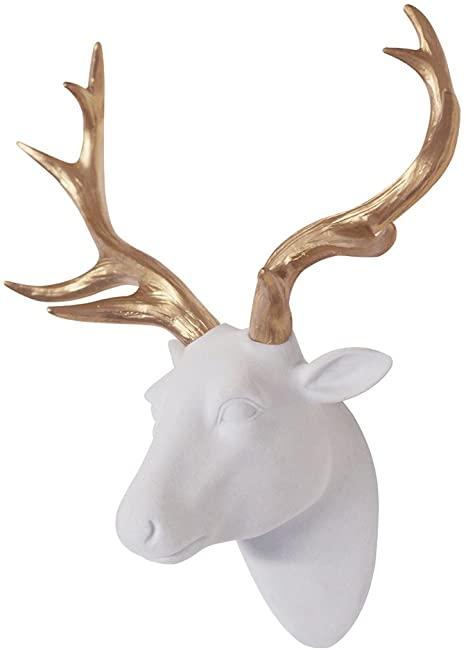 Amazon.com: Animal Head Wall Decor, White Faux Furry/Felt/Velvety .
