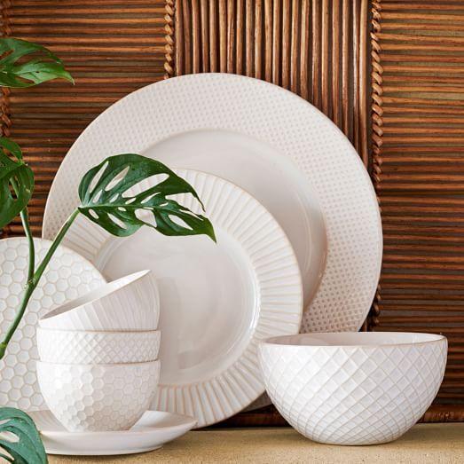 White Textured Stoneware Dinnerware (Set of 16) in 2020 .
