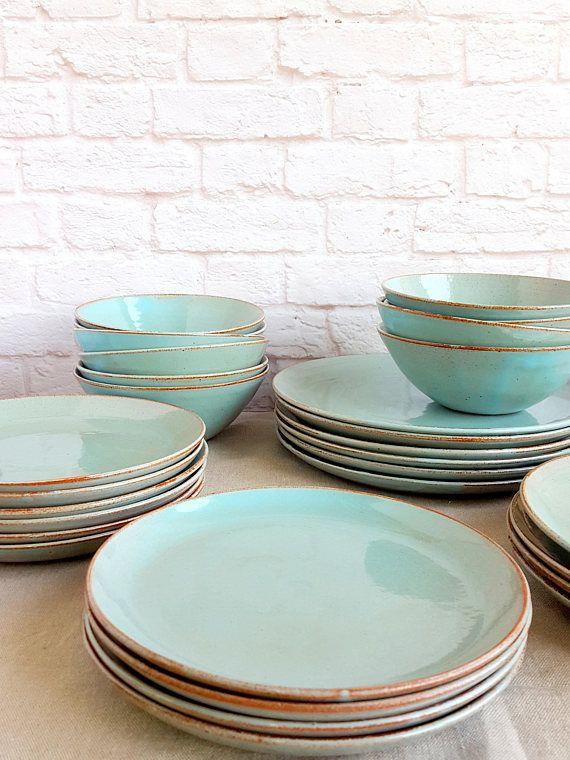Light Blue Dinnerware, Dinnerware Set, Stoneware Dinnerware .