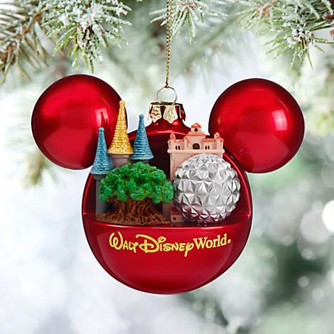 Disney Christmas Ornament - Mickey Ears Ball - 4 Parks One Wor