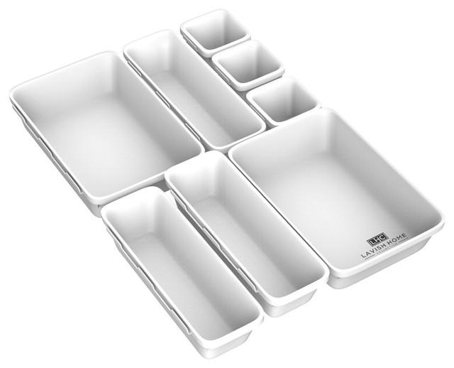 Lavish Home 8-Piece Plastic Stackable Modular Drawer Organizer .