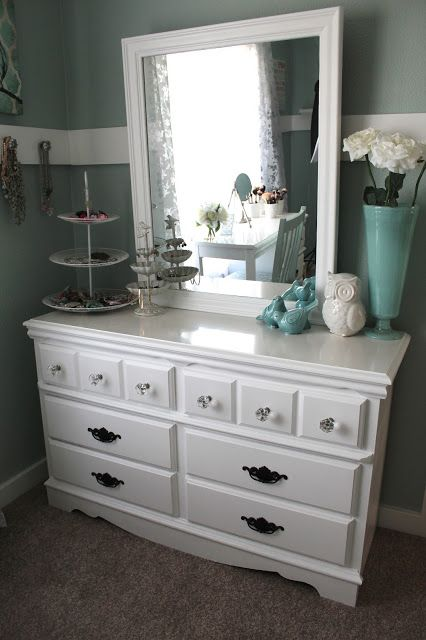 dresser top organization...love the jewelry in tiered dishes (put .