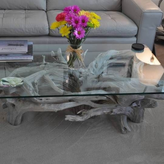 Glass Top Tables   Driftwood Decor   Driftwood coffee table .
