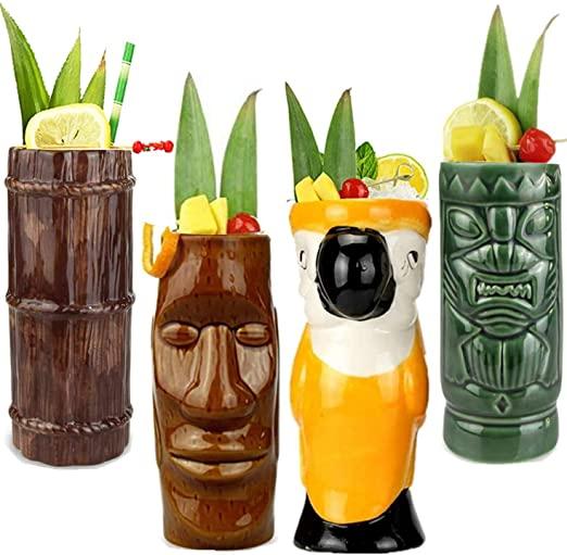Amazon.com: Tiki Mugs Cocktail Set of 4 - Ceramic Hawaiian Party .
