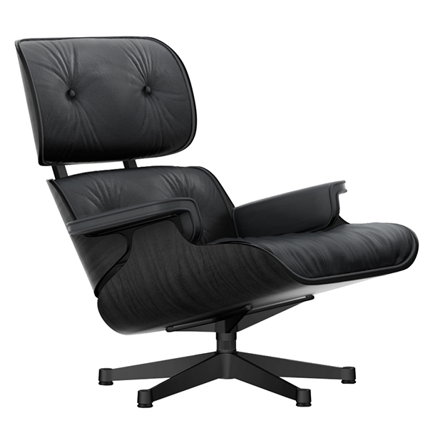 Vitra Eames Lounge Chair, new size, black ash - black leather .