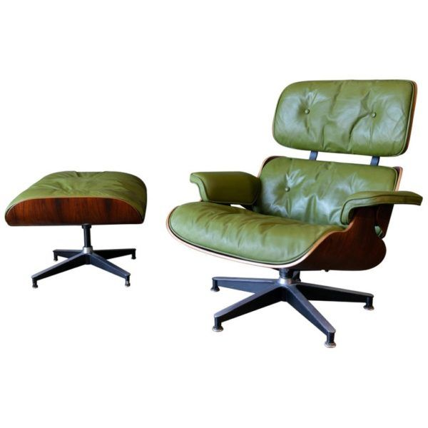Avocado Green Leather Eames Lounge Chair and Ottoman, 1967 – The .
