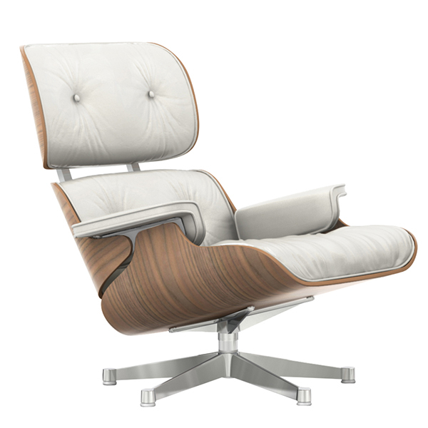 Vitra Eames Lounge Chair, new size, white walnut - white leather .
