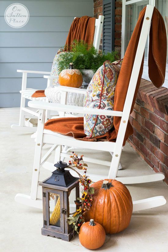 Fall Porch Decor Rocking Chairs | Fall decorations porch, Fall .