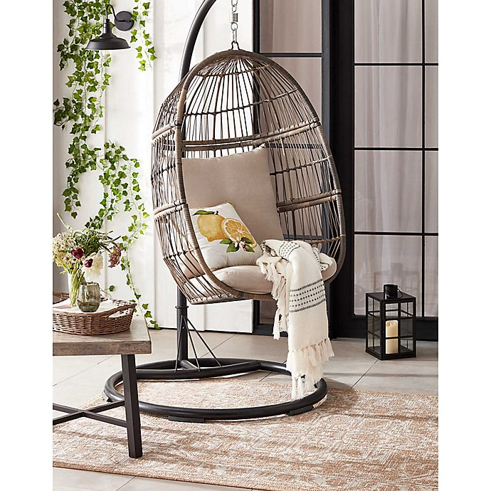 Bee & Willow™ Home Hanging Patio Egg Chair in Oyster | Bed Bath .