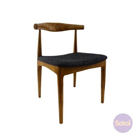 Replica 'Elbow' Chair Walnut - Fabric Seat   Fabric seat, Dining .