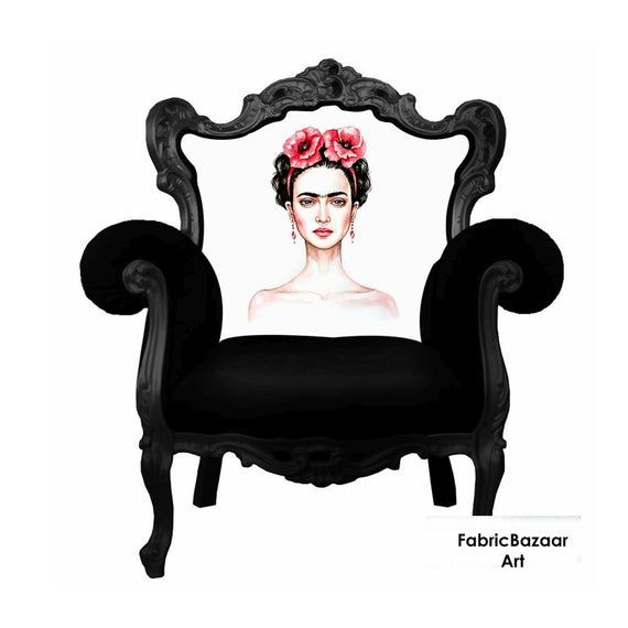 Frida Kahlo pattern upholstery for armchair, seat, chair, armchair .