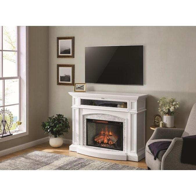 Scott Living 52.5-in W White Infrared Quartz Electric Fireplace in .