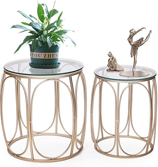 Amazon.com: Joveco End Side Tables Set of 2, Glass Top 1 .