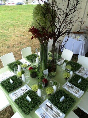Fake Grass Table Decoration #fakegrass | Grass centerpiece, Grass .