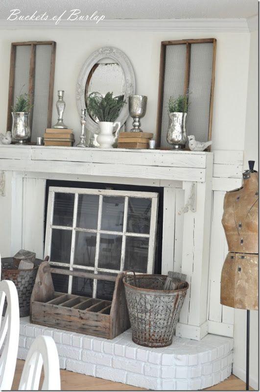 Buckets of Burlap | Fireplace decor, Fireplace cover, Home dec