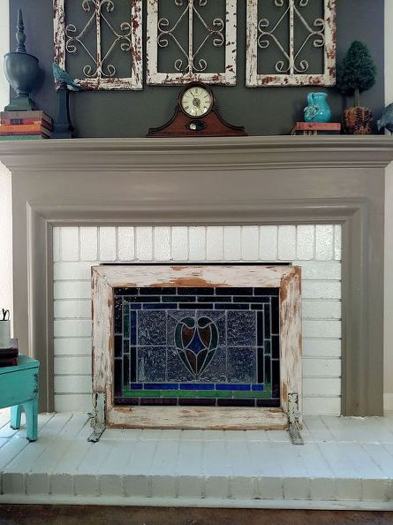 From Stain Glass to Fireplace Screen | Diy fireplace, Fireplace .