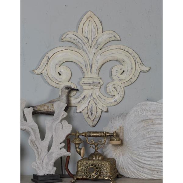 Litton Lane French-Inspired Whitewashed Fleur-de-Lis Wooden Wall .