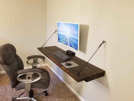 Rustic Floating Desk. Large Floating Shelf. | Et