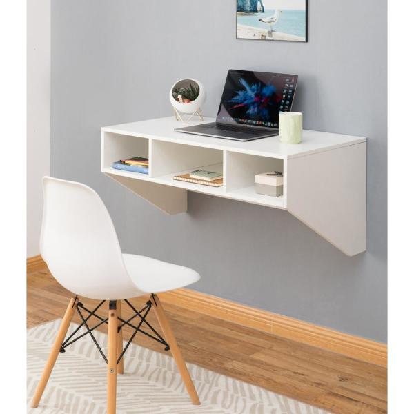 Basicwise 36 in. Rectangular White Floating Desk with Shelves .