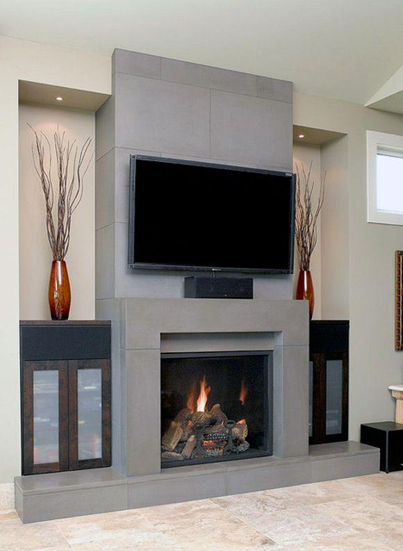 Gas Fireplace and TV Design Ideas | Contemporary fireplace designs .