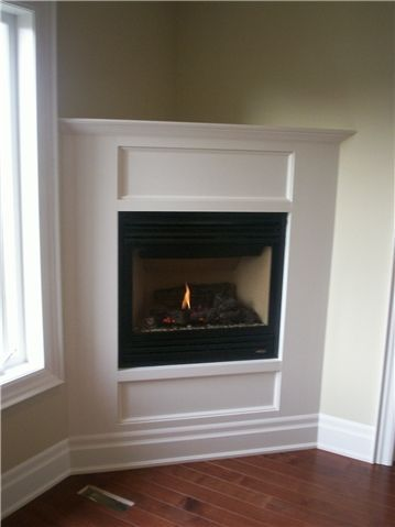 small living room with corner fireplace | Corner gas fireplace .