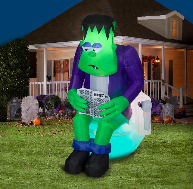 6 ft. Halloween Inflatable Frank On the Pooper | Halloween .