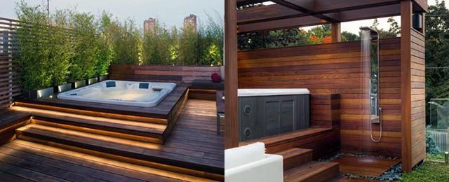 Top 80 Best Hot Tub Deck Ideas - Relaxing Backyard Desig