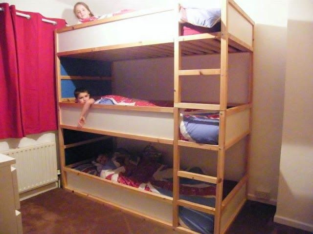 How to Make Triple Bunk Beds | Triple bunk bed ikea, Kids triple .