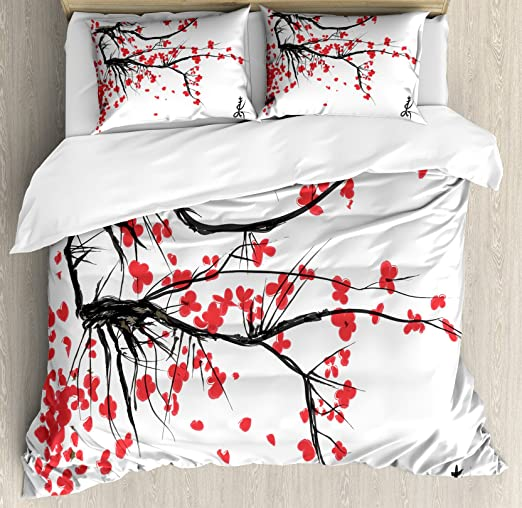 Amazon.com: Ambesonne Nature Duvet Cover Set, Sakura Blossom .