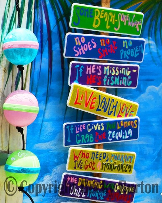 Tropical Sign Shack / Key West / 8x10 Photographic Print / Wall .