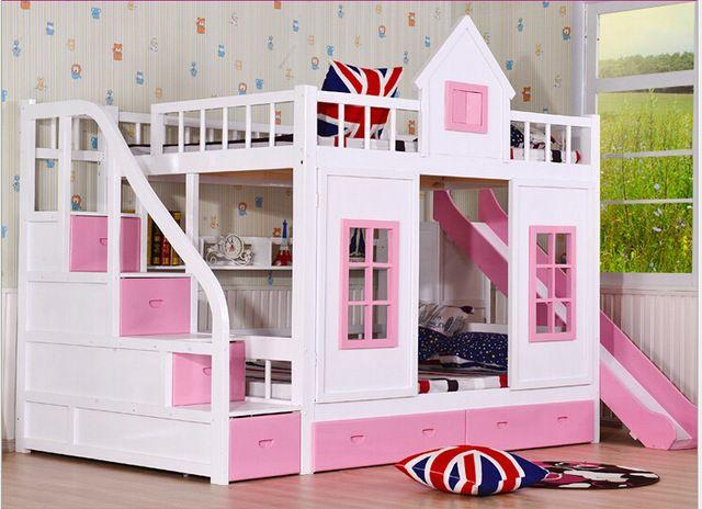 Children bunk bed wooden 2 floor ladder ark with slide bed pink .