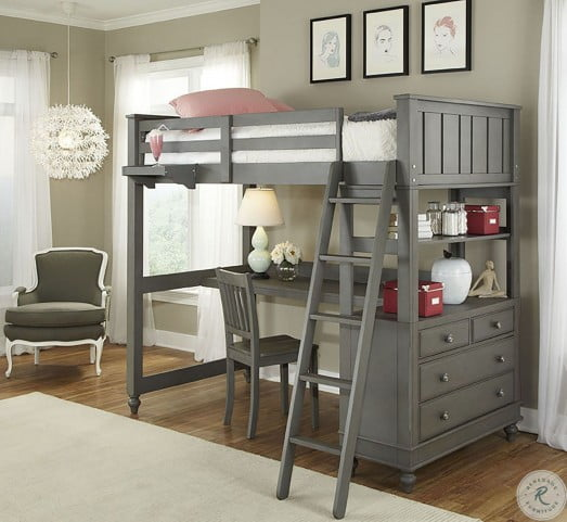 Lake House Stone Youth Loft Bedroom Set with Desk from NE Kids .