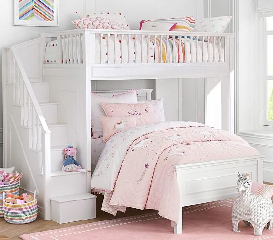 Fillmore Stair Kids Loft Bed & Lower Bed Set | Pottery Barn Ki