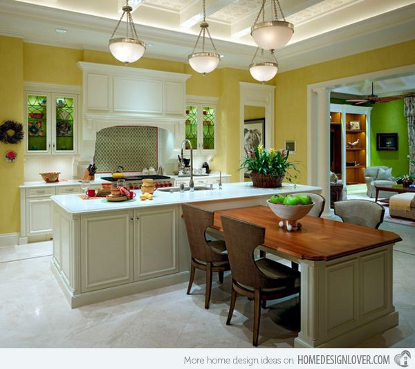 15 Beautiful Kitchen Island with Table Attached   Home Design .