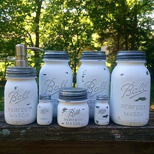 Amazon.com: White Mason Jar Canister Set with Soap Dispenser .