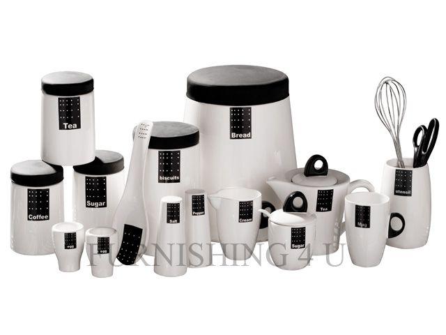 TAG BLACK WHITE KITCHEN CERAMIC STORAGE CANISTERS JARS SET TEA .