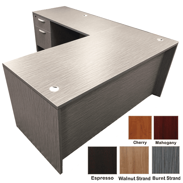 "New 66"" Ultra Single Pedestal L-Shaped Desk | L-Shaped Desks D"