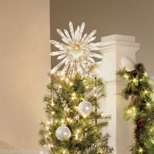 Lighted Christmas Tree Topper Crystal Star Decoration Ornament 50 .