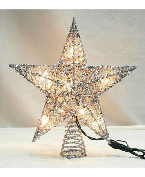 """Northlight 12"""" Lighted Glittering Silver Star Christmas Tree ."""