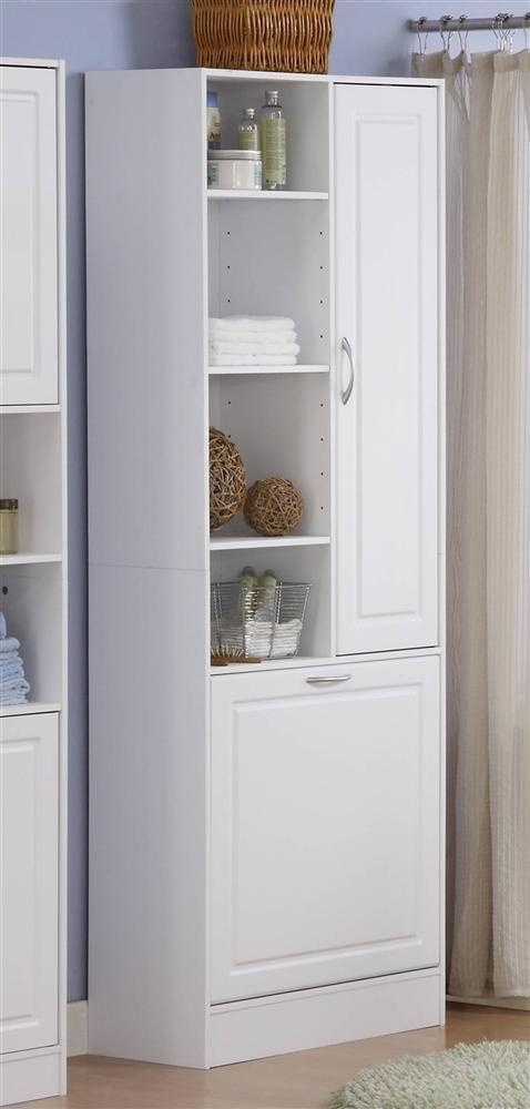 Linen Cabinet w Laundry Hamper | Bathroom storage tower, Linen .