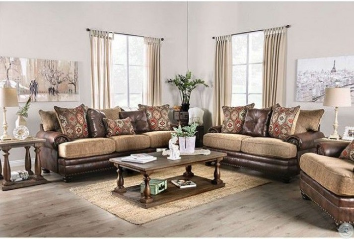 Fletcher Brown and Tan Living Room Set from Furniture of America .