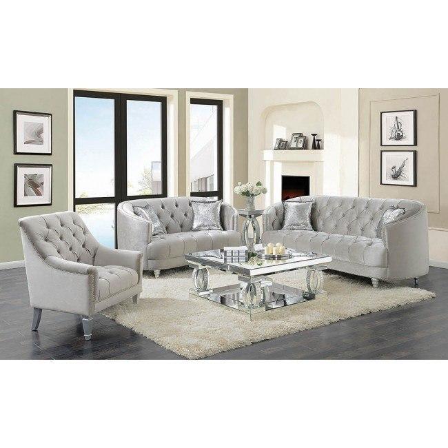 Avonlea Living Room Set (Grey Velvet) Coaster Furniture .