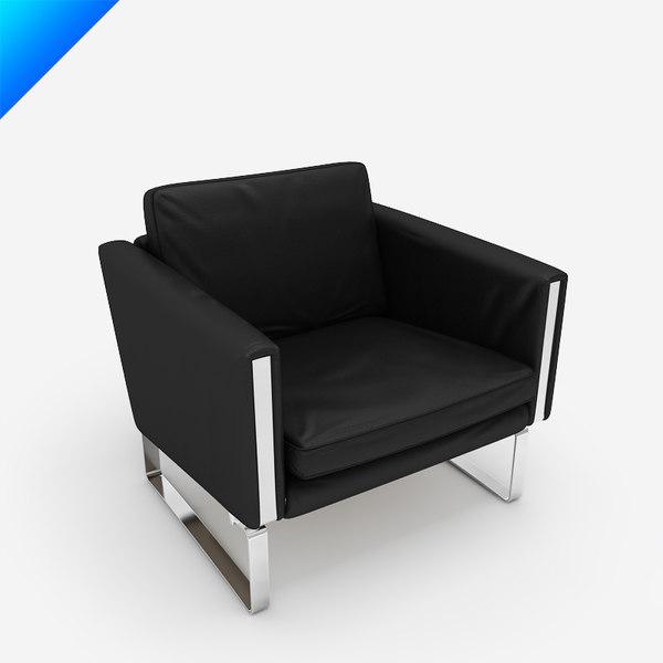 ch101 lounge chair hans wegner 3d o